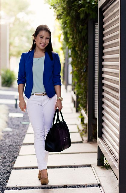 loft cobalt blue blazer, mint green top, white skinny jeans ...
