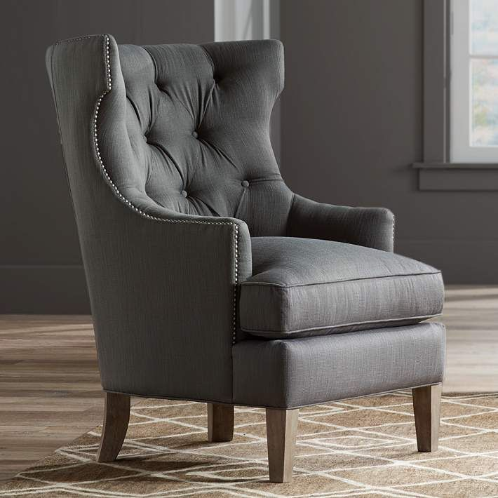 Reese Studio Charcoal High-Back Accent Chair - #8G312   Lamps Plus