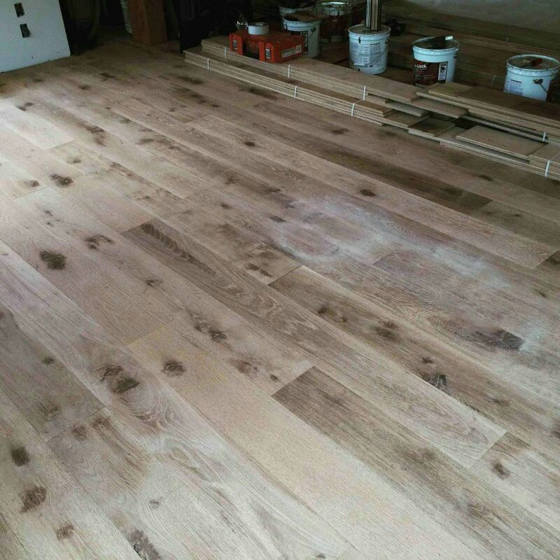 """8"""" white oak character grade unfinished wire brushed"""