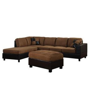 Dallin Sectional Sofa And Ottoman   Saddle Brown   Left Side Chaise   Kmart