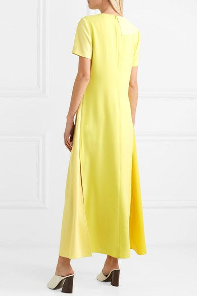 Discounts Online Color-block Ruffled Chiffon And Crepe De Chine Maxi Dress - Yellow GOEN J Buy Cheap Best Sale 2018 Newest Sale Online Outlet Cheapest Price uXwyIH