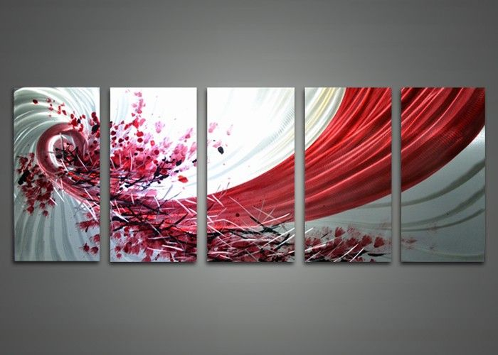Red Metal Wall Art abstract red and white metal wall art 60 x 24in | fabu art