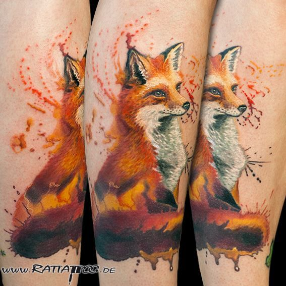 Fuchstattoo Fox Tattoo Aquarelltattoo Realistic Wildlife