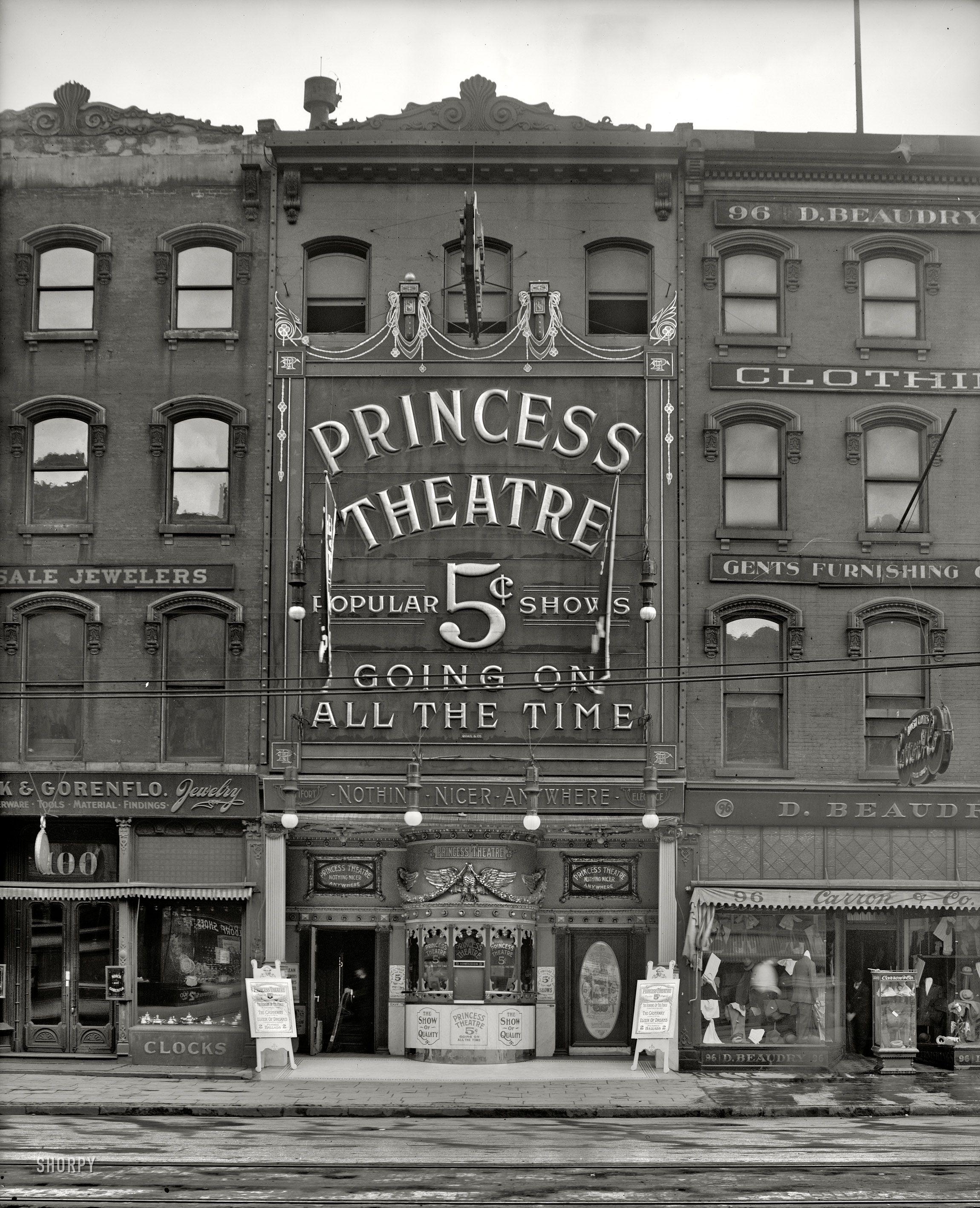 Princess Theatre (Detroit, MI, 1909) via http://www.shorpy.com/node/9474