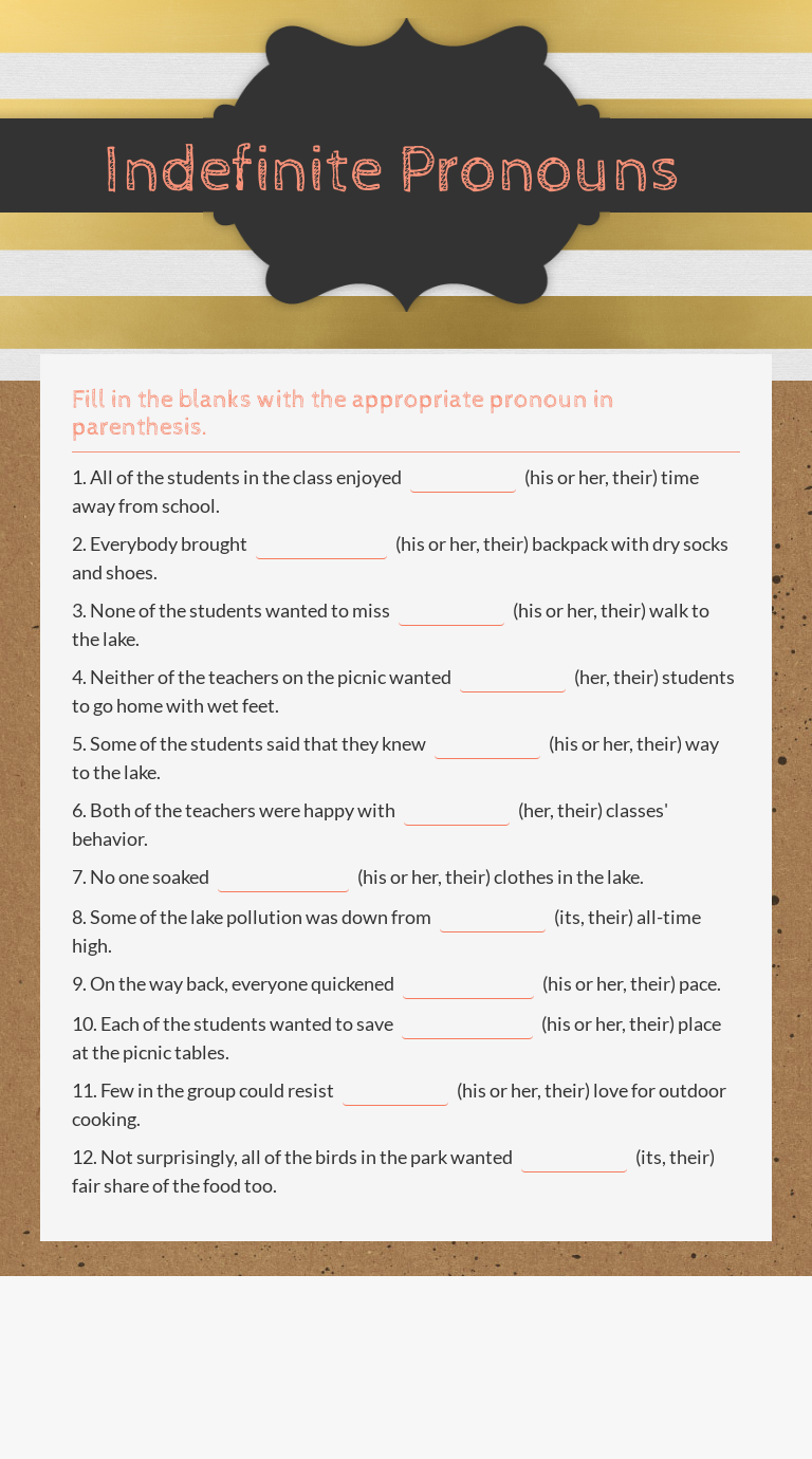 Indefinite Pronouns Worksheet 7th Grade ELA Grammer