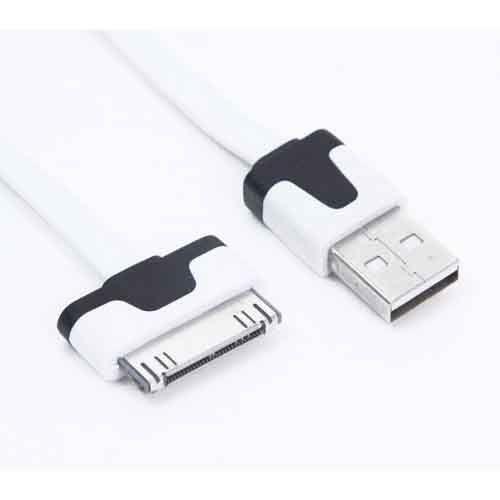 USB Kабель Apple iPhone 4 4S 3G 3GS 2G iPad 2 iPad 3 iPod плоский литой (белый)  USB Kабель Apple iPhone 4 4S 3G 3GS 2G iPad 2 iPad 3 iPod плоский литой (белый)