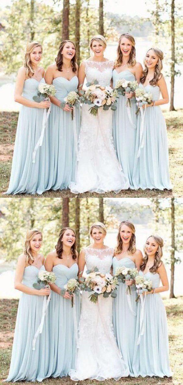 Cheap Light Blue Sweet Heart Chiffon Long Bridesmaid Dresses,MD333
