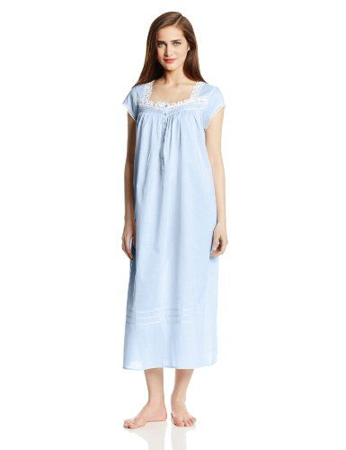 b96628e7c6 Eileen West Women's 50 Inch Cap Sleeve 100% Cotton Lawn Solid Rp Gown, Blue