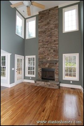 This Impressive Two Story Stone Fireplace Is Visible From Every