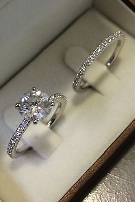 1 50 Ct D Vvs1 Diamond Solitaire Engagement Bridal Ring Set In 14k White Gold Fn Stackable Rings Wedding Wedding Ring Sets Dream Engagement Rings