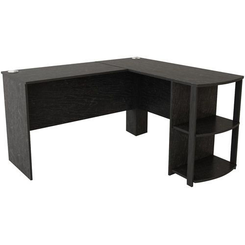 Ameriwood Home Dominic L Desk With Bookshelves Black Oak Walmart Com L Shaped Desk L Shaped Corner Desk Bookshelf Desk