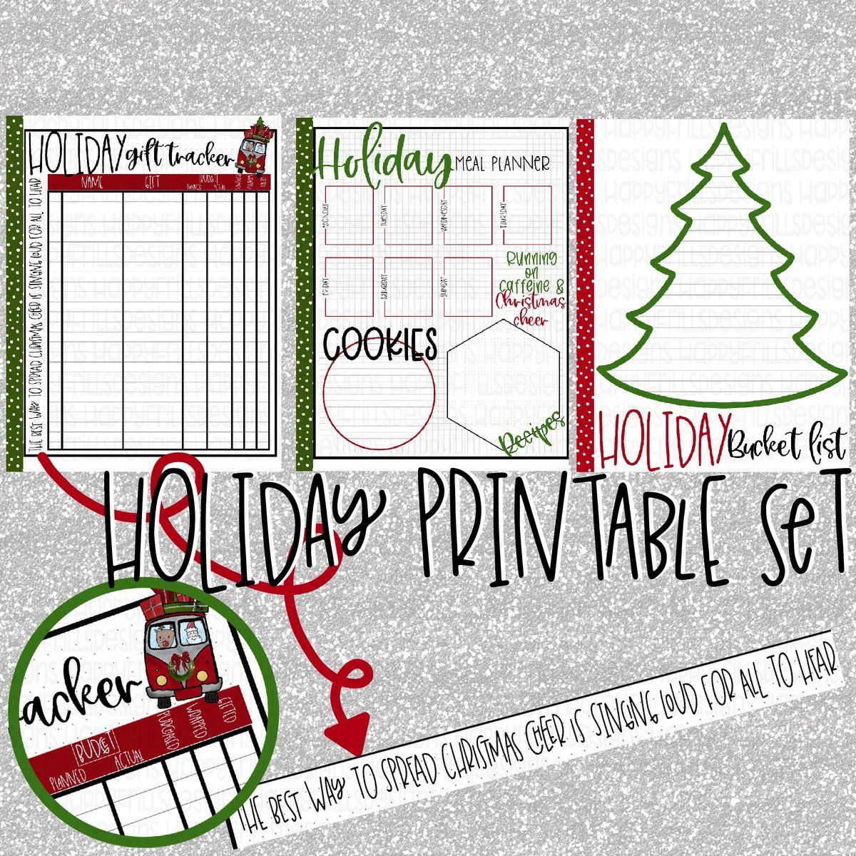 Holiday Christmas T Tracker Bucket List Meal Planner