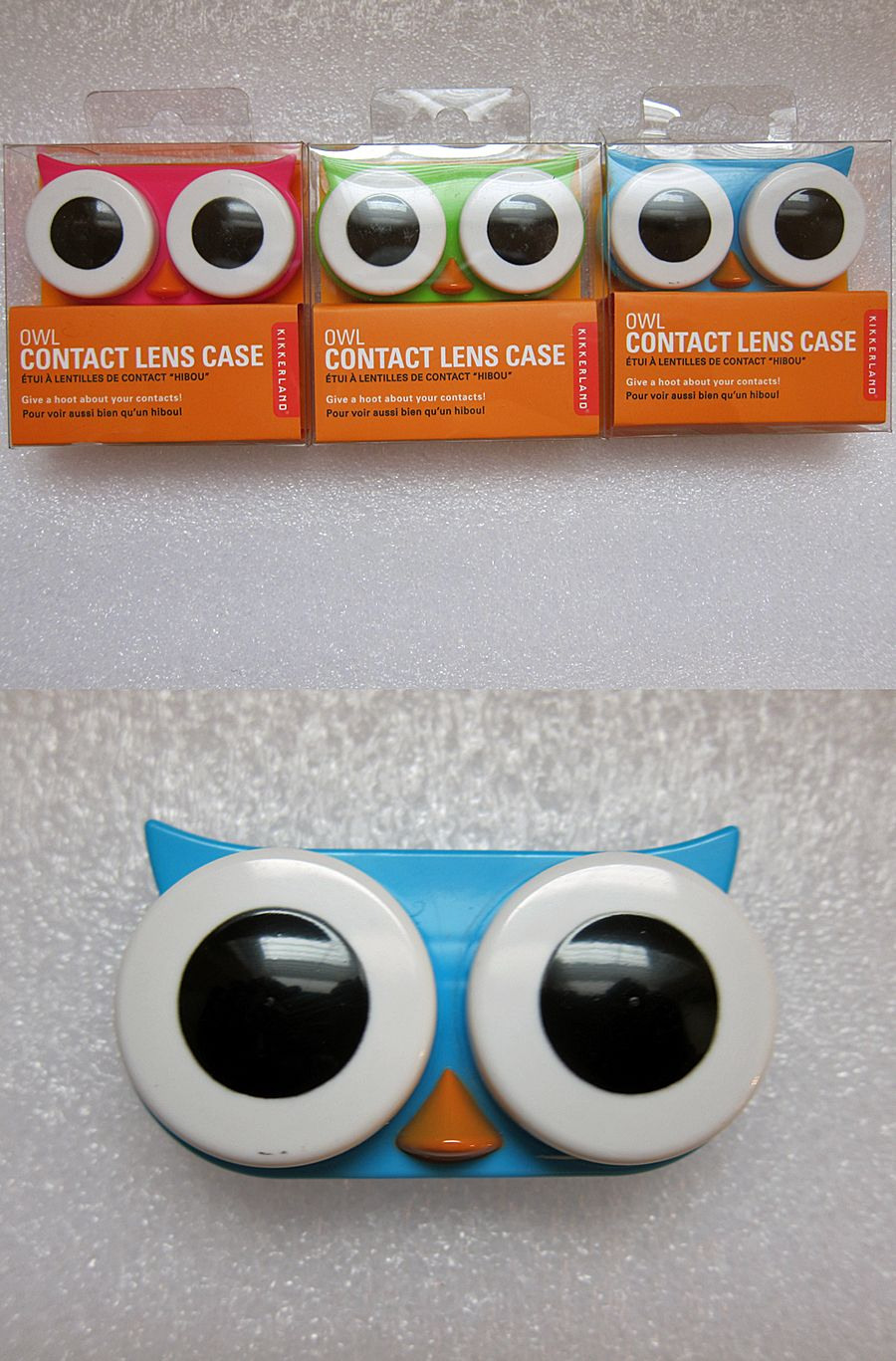 68630f3f65e23 Kikkerland owl contact lens lenses kawaii case pink green blue ...