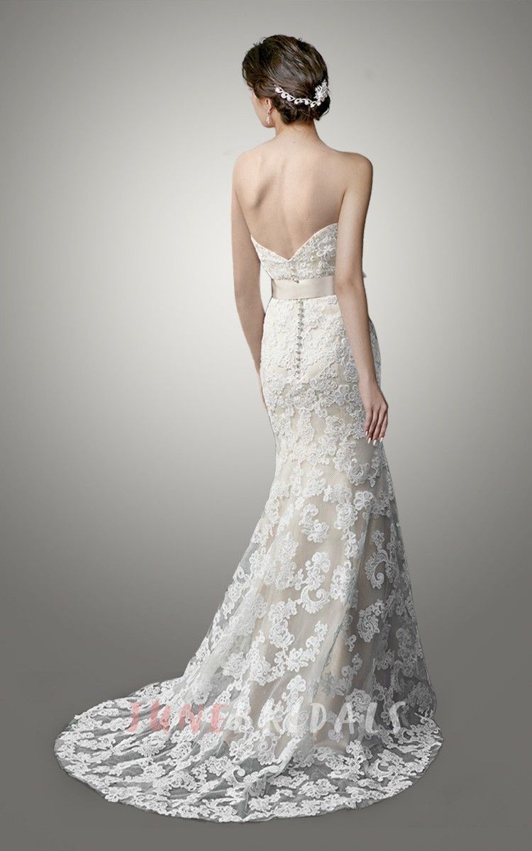 Strapless sweetheart lace wedding dress with sexy back lace