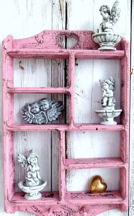 trinket shelf knick knack shelf nick nack shabby pink shelf wood