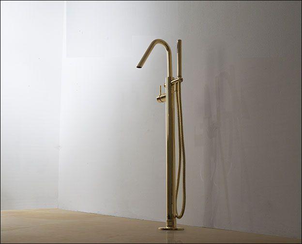 Kara Gold Freestanding Bath Tap With
