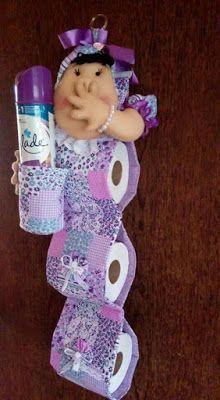 Lindas 10 ideas para hacer porta rollos de papel higiénico con tela ~ Solountip... #toiletpaperrolldecor