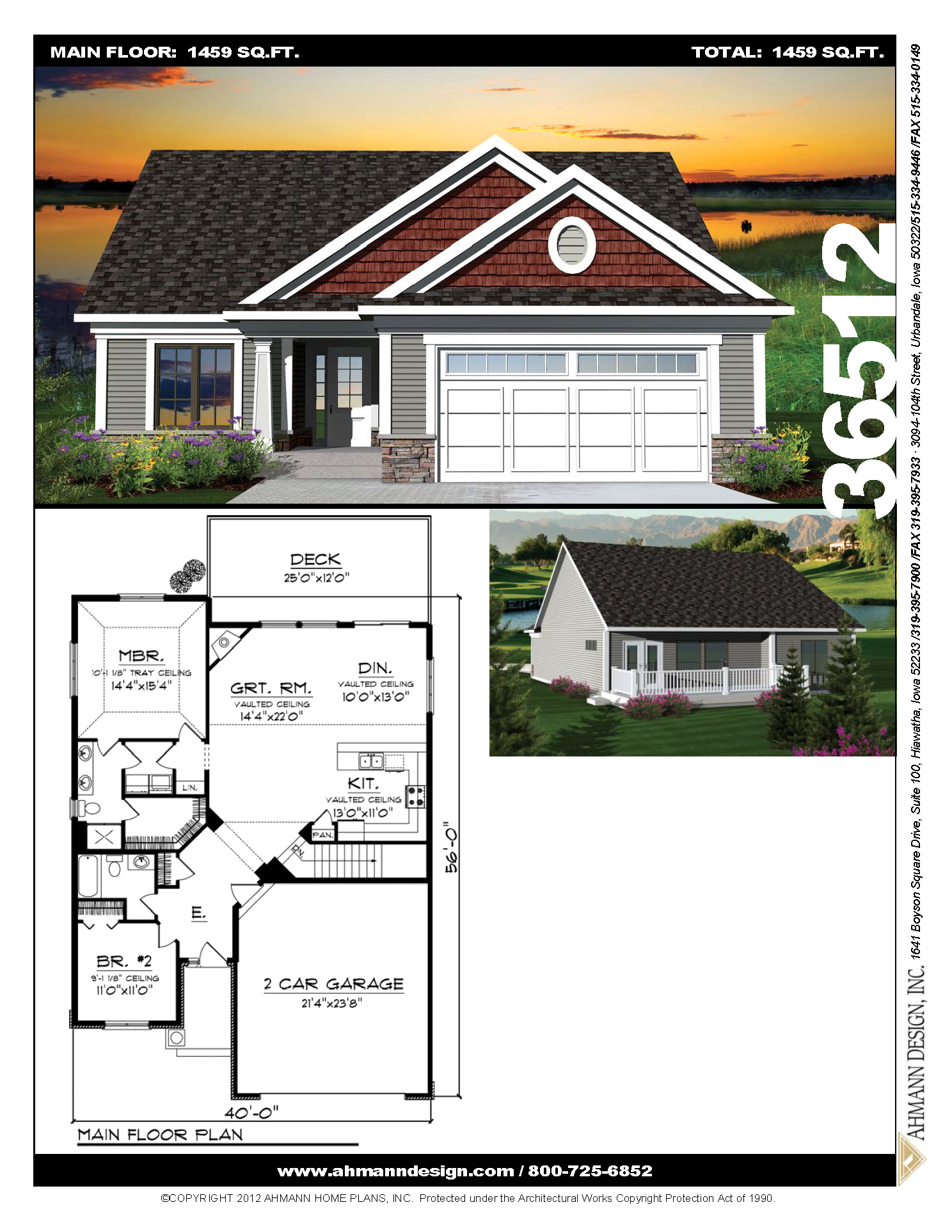 Ahmann Design Plan 36512 This Classic Plan Design Features An Open Floor Plan In The Main Living Area Making Cottage House Plans House Plans One Storey House