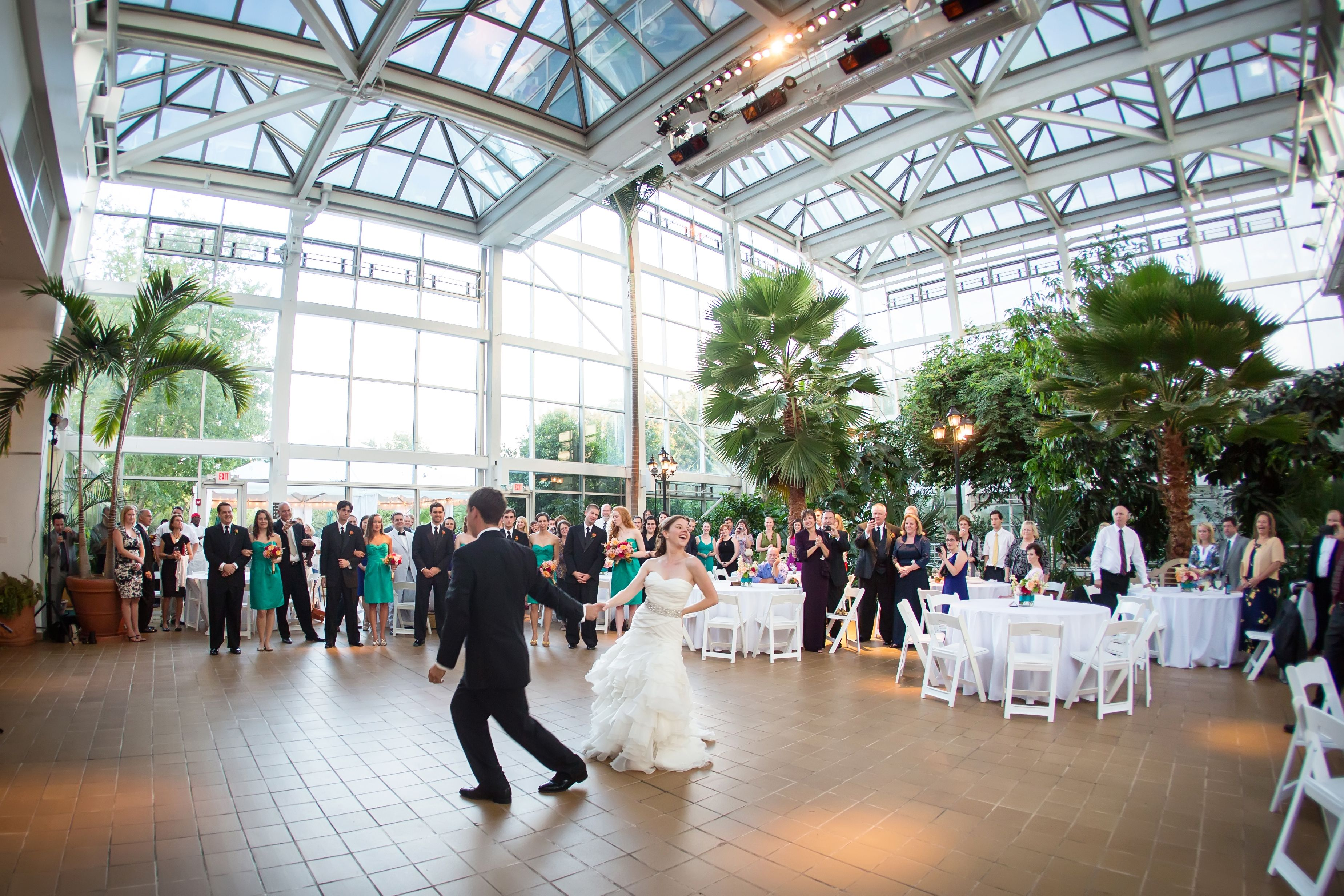 Swing dancing at the reception in the conservatory