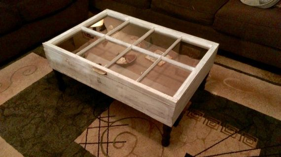 On Wood Window Shadow Box Coffee Table Distressed Old