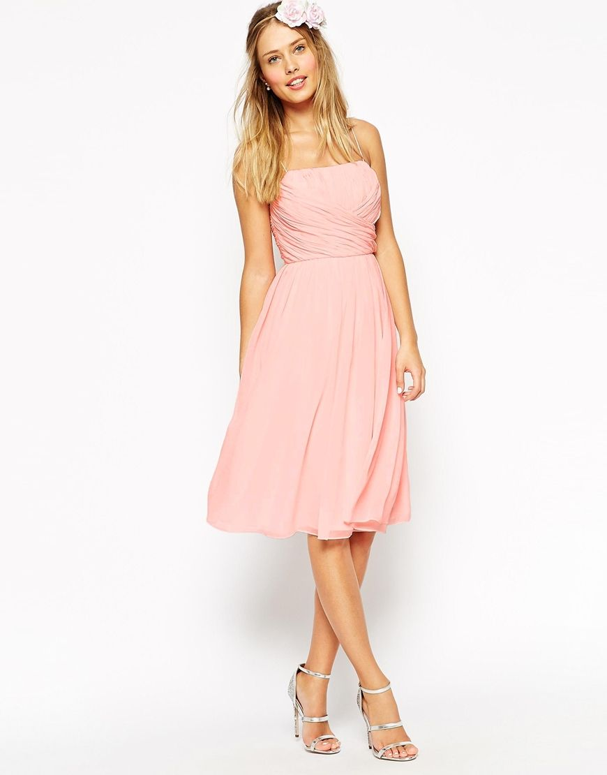 ASOS WEDDING Midi Dress With Ruched Wrap Front | Bridesmaids | Pinterest