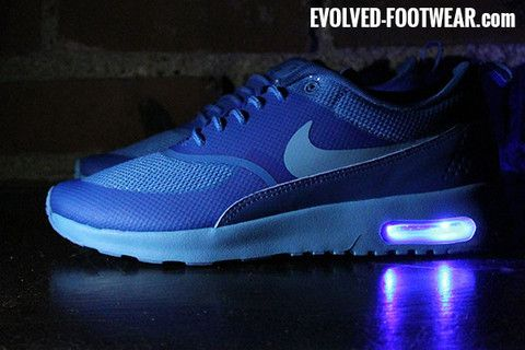 blue nike air max thea with blue lights evolved footwear custom