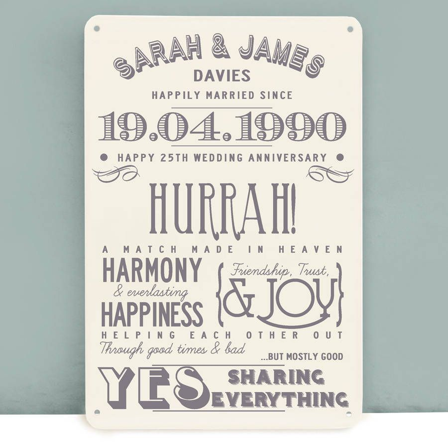 Ideas For 25th Wedding Anniversary Gift: Personalised Silver Wedding Anniversary Metal Print