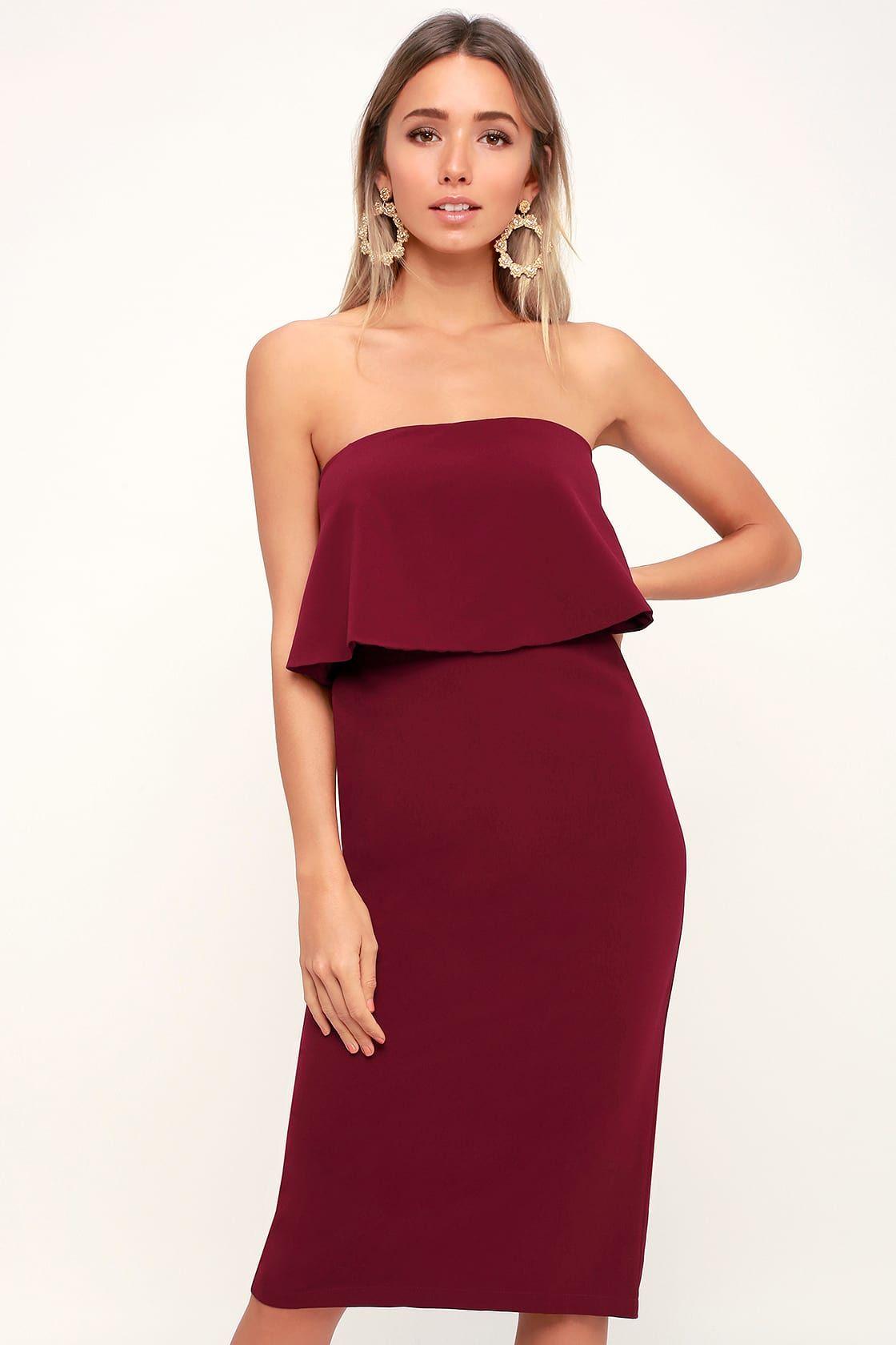 Lots Of Love Burgundy Strapless Midi Dress Strapless Midi Dress Dresses Women Dress Online [ 1680 x 1120 Pixel ]