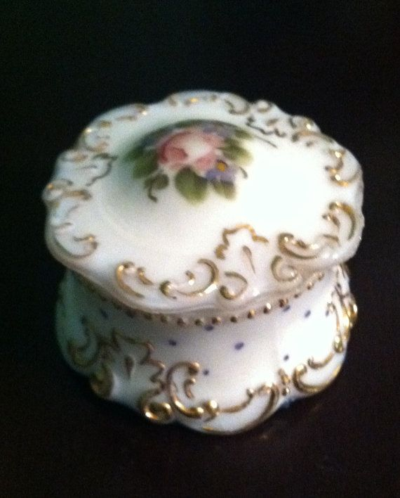Small Milk Glass Trinket Box with Charleton by FrannieBee on Etsy, $22.00