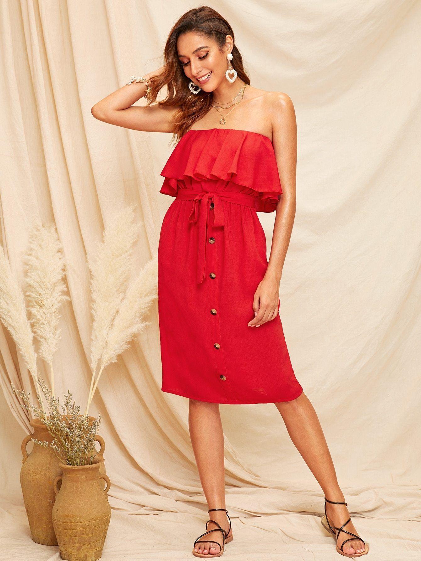 Ruffle Trim Button Front Belted Tube Dress Tube Dress Dresses Summer Pocket Dress [ 1785 x 1340 Pixel ]