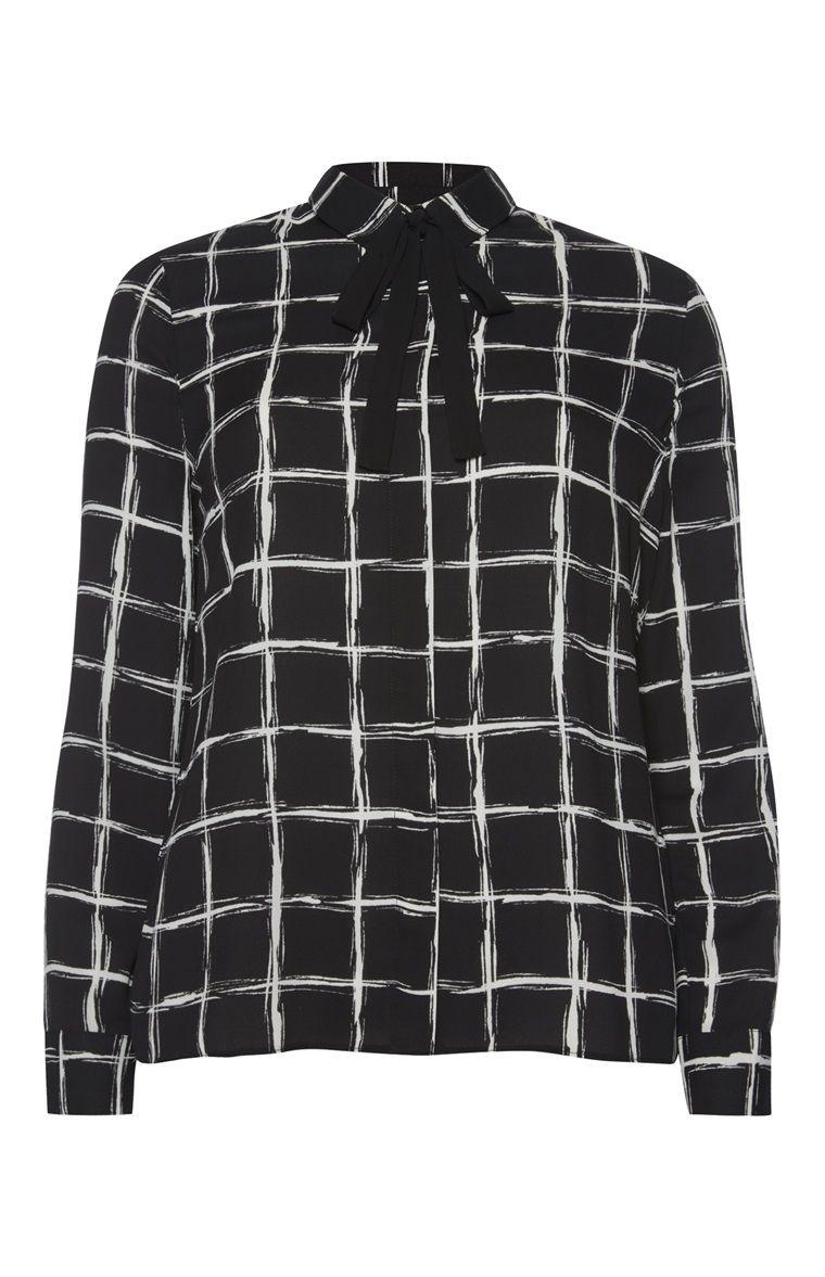 22cf3993690 Black Scribble Check Tie Neck Blouse