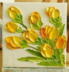 Custom Small 4x4 and 6x6 Tulip Impasto Oil Paintin
