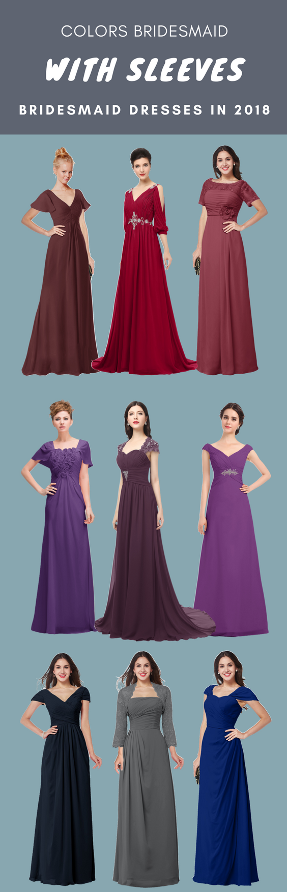 Our bridesmaid dresses with sleeves including short sleeve, half ...