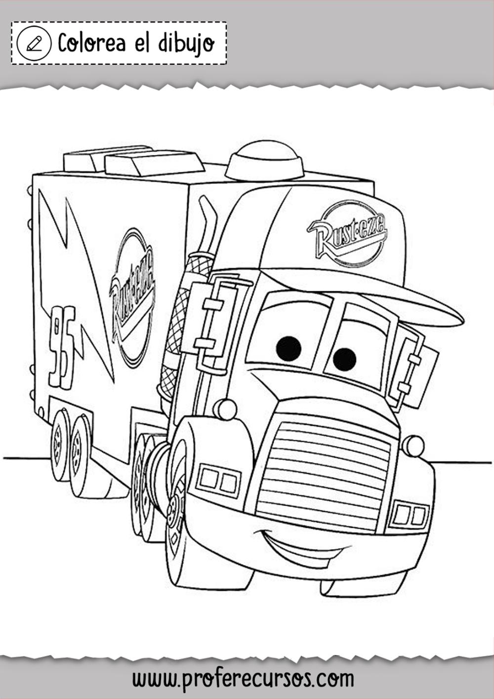 Dibujos De Camiones Cars Colorear Imprimir Dibujos Para Colorear Colorear Disney Dibujos Faciles Para Dibujar