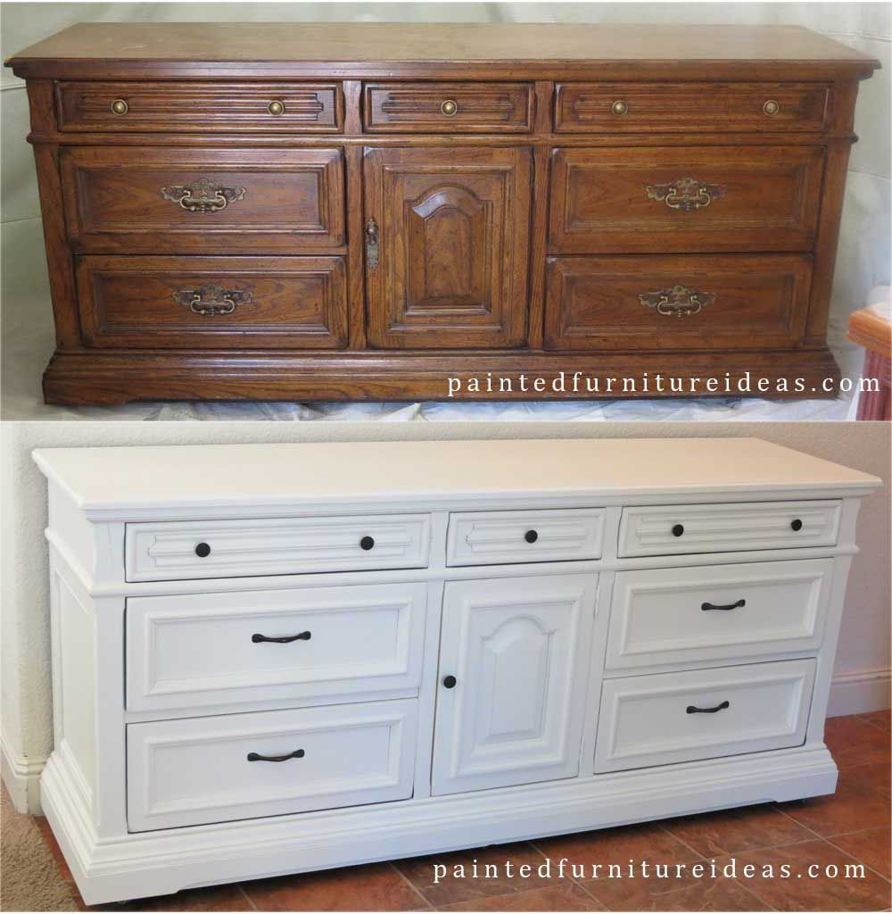 Another drexel dresser redone in white dresser diy for Ideas for painting a dresser