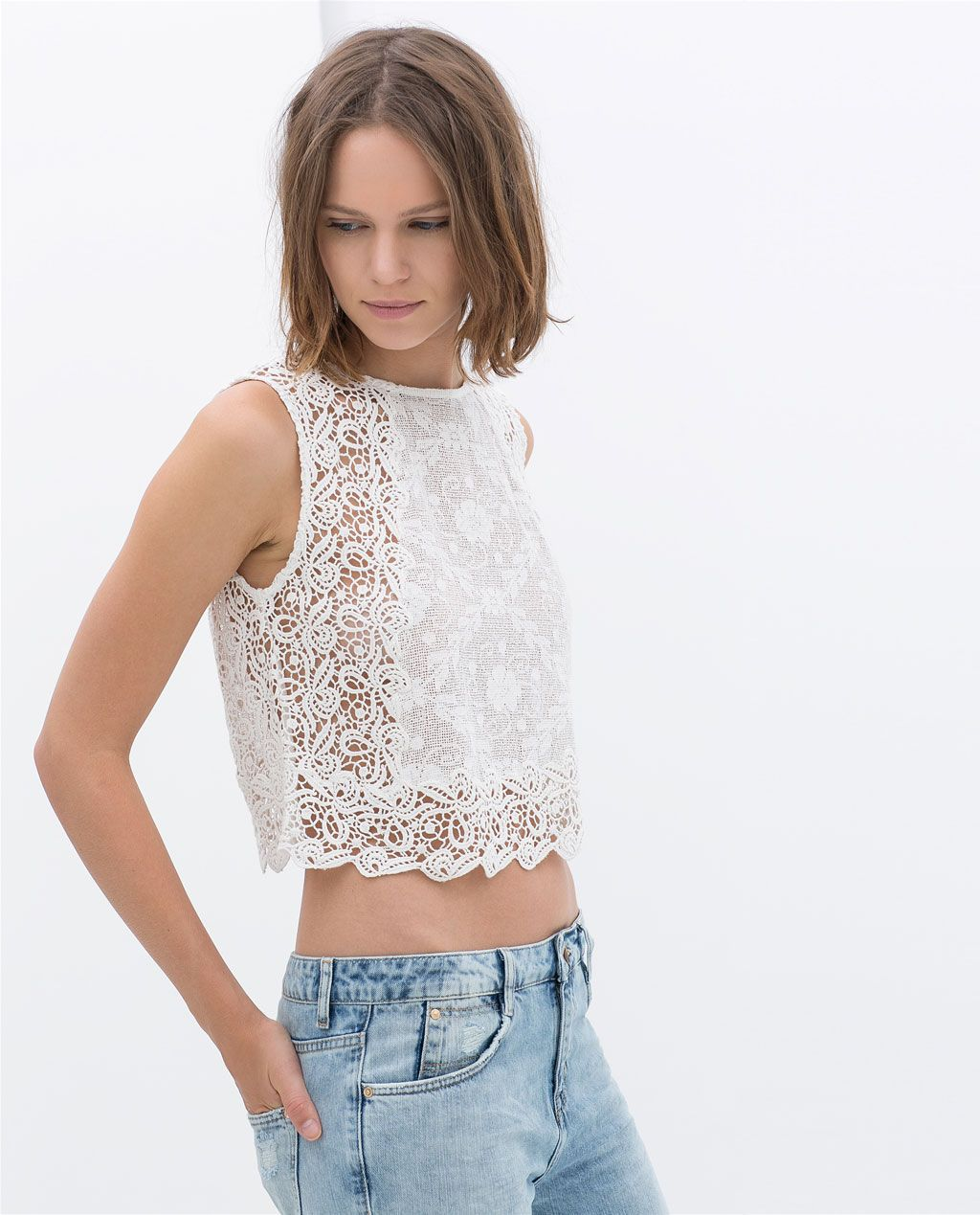 Crop Lace Top Shirts Trf Sale Zara Singapore