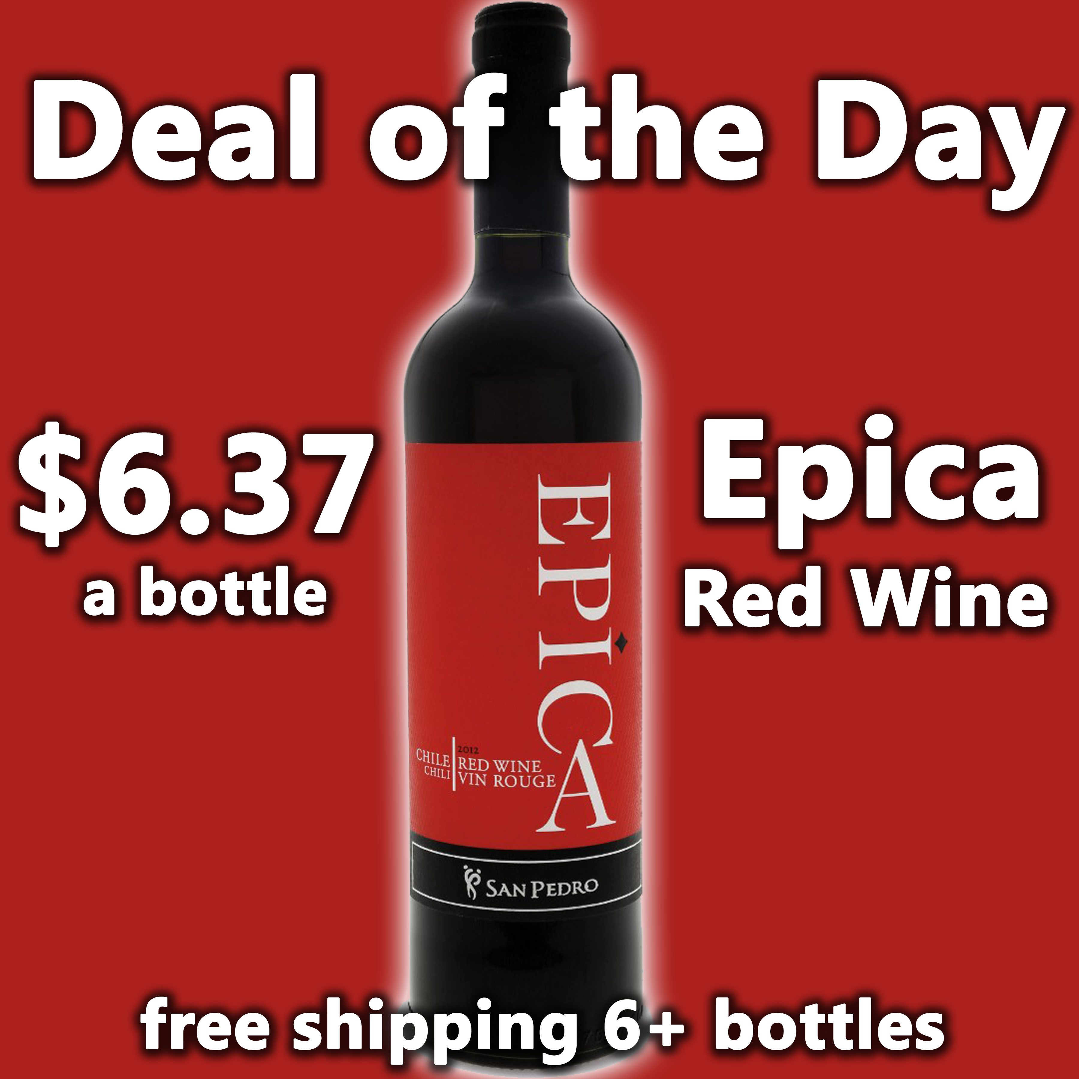 Deal Of The Day San Pedro Epica Red Wine 6 37 A Bottle Free Shipping On 6 Bottles The Combination Of Three Different Gra Red Wine Online Wine Store Bottle