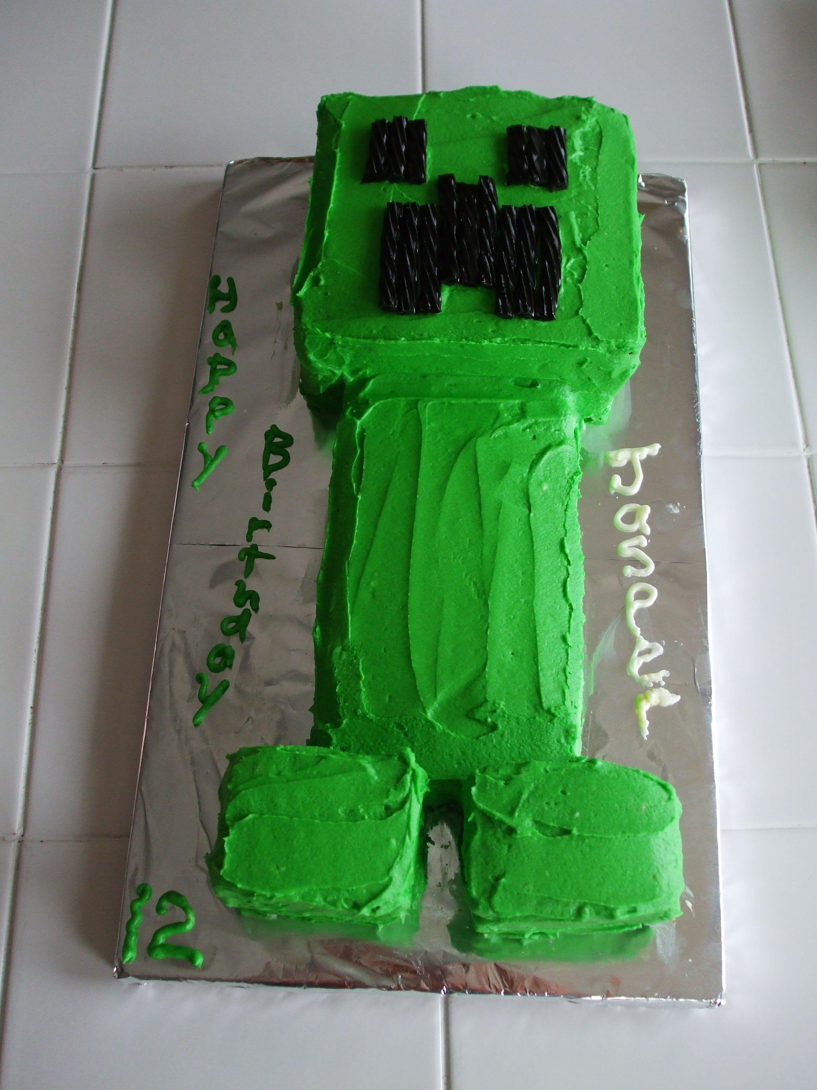 Fantastic Jaspers Minecraft Creeper Cake 12Th Birthday Minecraft Funny Birthday Cards Online Inifofree Goldxyz