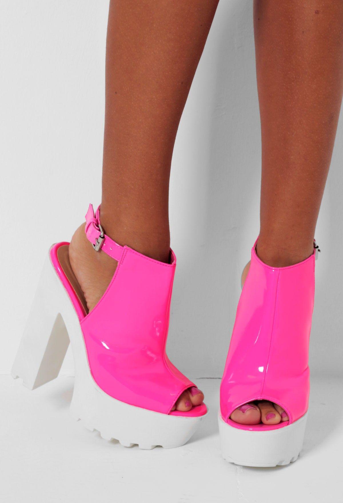 Skittles Pink Slingback Tractor Sole Platform Shoes | Pink ...