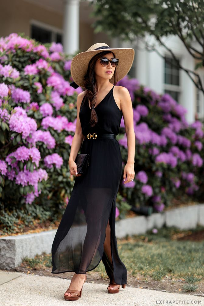 ea7bb7781 summer style // long black maxi dress (works for petite women!) + waist belt  + heeled sandals