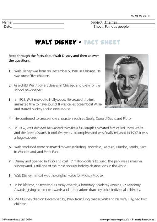 PrimaryLeapcouk Reading comprehension Walt Disney Worksheet – Disney Worksheets