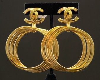 Vintage Chanel CC Gold Hoops Vintage Designer Costume Jewelry