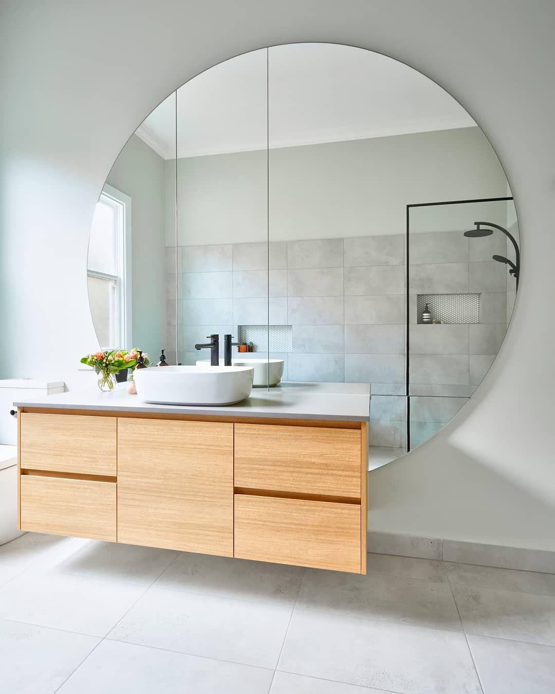 Huge Bathroom Mirror Round Mirror Regram Via Smarterbathroomsplus Minimalist Bathroom Round Mirror Bathroom Bathroom Design Help