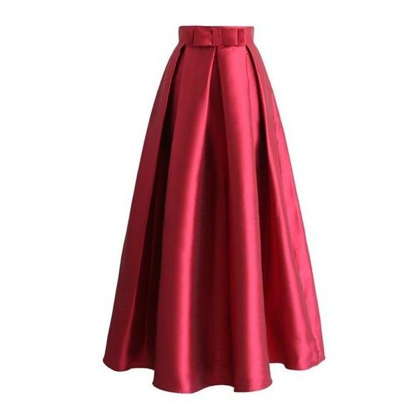 So Amazing Charlotte Red Long Satin Skirt (€79) ❤ liked on ...