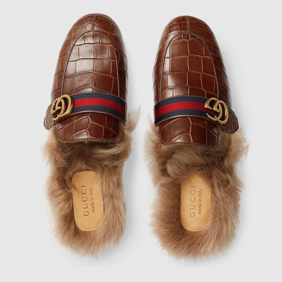 Gucci Princetown crocodile slipper with