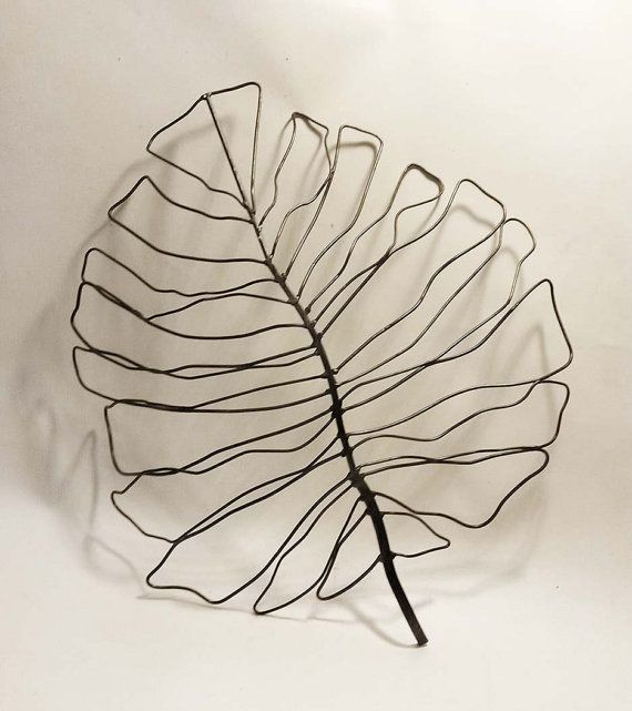 Large Handcrafted Iron Wire Philodendron Leaf Wall Art Etsy Wire Wall Art Leaf Wall Art Wall Art Uk