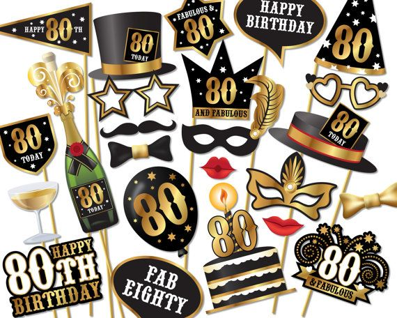80th Birthday Photo Booth Props