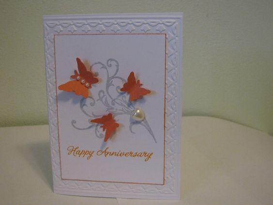Anniversary card using stampin up tulip border embossing folder