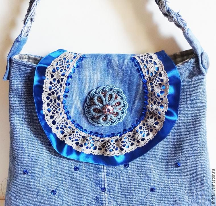 Handbag of old jeans with a strap. Pattern bags. DIY tutorial in ... 629b6c31a76cf
