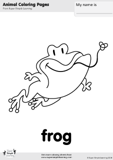 Free Frog Coloring Page From Super Simple Learning Tons Of Animal Worksheets And Flashcards